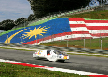 XXXXXX on day four of the Shell Eco-marathon Challenge Asia at Sepang International Circuit in Kuala Lumpur, Saturday, July 7, 2012. Students from Asia and the Middle East have come together to compete in the four-day event. (Peter Lim/AP Images for Shell)